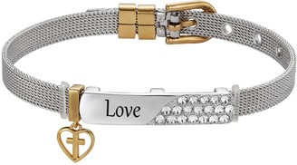 "Brilliance+ Brilliance Two-Tone ""Love"" Bar Bracelet with Swarovski Crystals"