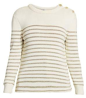 Saint Laurent Women's Metallic Stripe Wool Blend Sweater