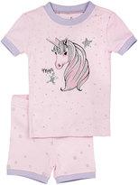 Petit Lem Unicorn Top & Shorts Pajama Set, Pink, Size 2-4T