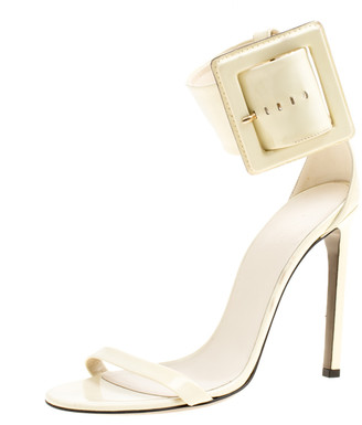 Gucci Cream Buckled Patent Leather Sandals Size 39