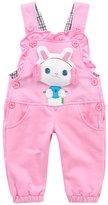 Kidscool Baby Girls 3D Rabbit Cute Cotton Denim Overalls /Purple