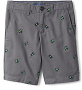Lands' End Boys Husky Pattern Cadet Shorts-Silver Graphite Bug Embroidery