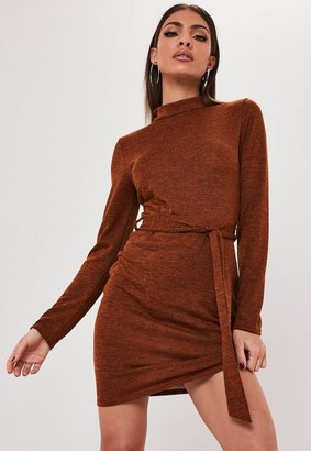 Missguided Rust High Neck Self Belted Mini Dress