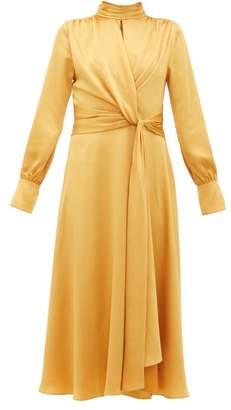 Jonathan Simkhai Tie-front Satin Dress - Womens - Dark Yellow