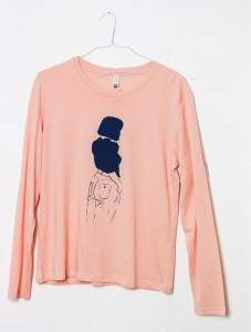 Tidy Print - Soft Pink Girl Printed Long Sleeve T Shirt - L - Pink/Blue