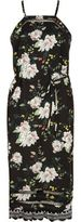 River Island Womens Black floral ladder lace cami slip midi dress