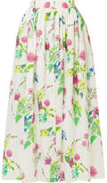 MDS Stripes - Floral-print Cotton-poplin Maxi Skirt - White
