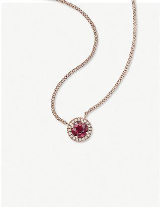 Vashi Halo 0.3ct ruby and 18k rose-gold pendant necklace