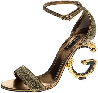 Dolce & Gabbana Gold Lurex Bette Sculpture Heel Open Toe Sandals Size 38.5