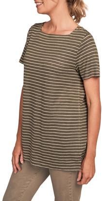 Blue Illusion Stripe Linen T-Shirt