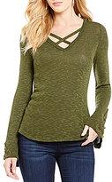 Blu Pepper Crisscross-V-Neck Bell-Sleeve Knit Top