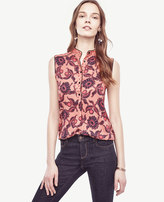 Ann Taylor Petite Daisy Piped Sleeveless Blouse