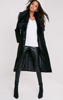 PrettyLittleThing Delilah Black Faux Fur Collar Double Breasted Coat
