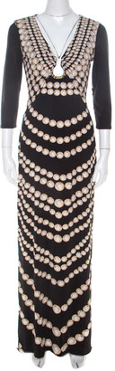 Roberto Cavalli Black Coin Printed Jersey Neck Detail Maxi Dress M
