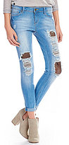 YMI Jeanswear Love Destructed Fishnet Ankle Skinny Jeans