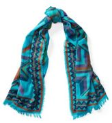 Ralph Lauren Southwestern Wool-Cotton Scarf Vacation Blue Multi One Size
