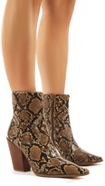 Public Desire Shannon Snakeskin Western Block Heeled Ankle Boots