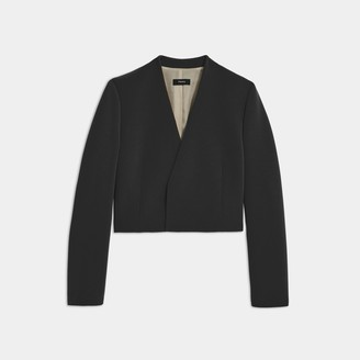 Theory Collarless Blazer in Double Crepe