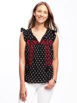 Old Navy Embroidered Flutter-Sleeve Swing Top for Women