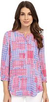 NYDJ Women's Geometric 3/4 Sleeve Henley Pleat Back Blouse