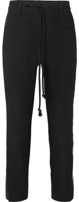 Ann Demeulemeester Belted Jacquard-trimmed Wool Tapered Pants - Black