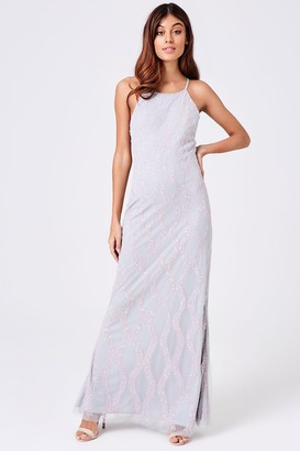 Little Mistress Luxury Yaz Grey Hand Embellished Maxi Dress