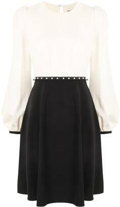 Twin-Set Two-Tone Long-Sleeve Dress