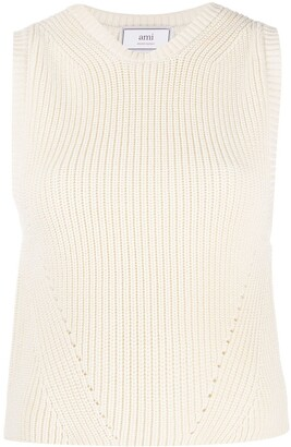 AMI Paris Rib-Knit Sleeveless Jumper