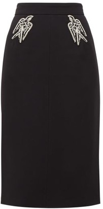 No.21 No. 21 - Crystal-birds Crepe Pencil Skirt - Womens - Black