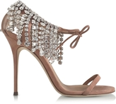 Giuseppe Zanotti Nude Suede High Heel Sandal w/Crystals