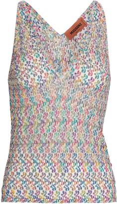 Missoni Crochet Rainbow Knit Tank Top
