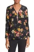 The Kooples Women's Floral Print Front Zip Silk Blouse