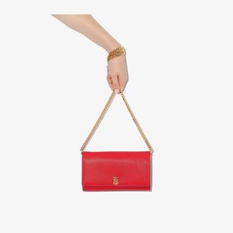 Burberry Red Hannah Leather Shoulder Bag