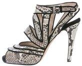 Chrissie Morris Snakeskin Multistrap Sandals