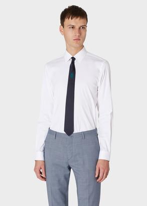 Paul Smith Men's Super Slim-Fit White Shirt With 'Artist Stripe' Cuff Lining