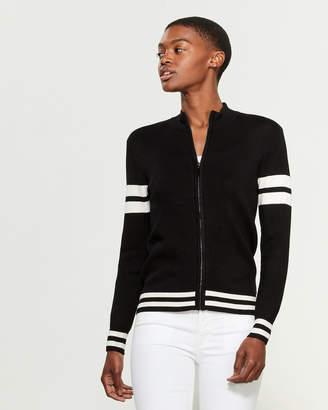 YAL New York Black & White Double Stripe Full-Zip Cardigan