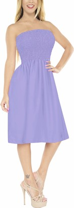 LA LEELA 3 in 1 Soft Rayon Plain Women Plus Size Swimsuit Strap Dress Evening Prom Dress Skirt Short Bandeau Maxi Skirt Fit Flare Beachwear Bikini Cover up Short Loungewear Dress Purple Ladies