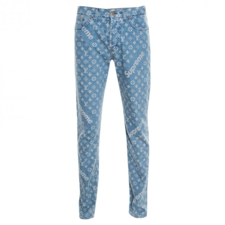 Louis Vuitton X Supreme Blue Cotton Jeans - ShopStyle