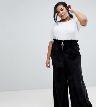 Asos DESIGN Curve velvet wide leg with shirring and ring pull