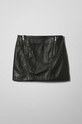 Weekday Sitar Leather Skirt - Black
