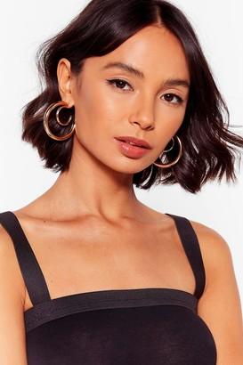 Nasty Gal Womens Do a Double Take Chunky Hoop Earrings - Gold