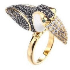 Noir Tucan Ring With Cubic Zirconia Stones