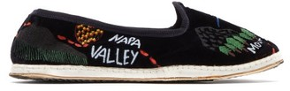 Kilometre Paris - Tropical Tour Embroidered Velvet Slippers - Womens - Navy Multi