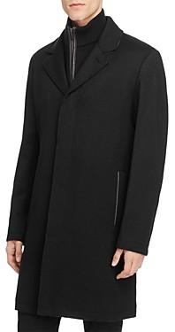 Cole Haan Sweater Bib Wool Blend Twill Coat