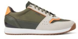 Running-style sneakers in mixed materials