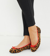 Simply Be Wide Fit leopard print ballet pump