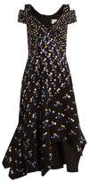 Peter Pilotto Off-the-shoulder Dot-print Stretch-cady Dress - Womens - Navy Print
