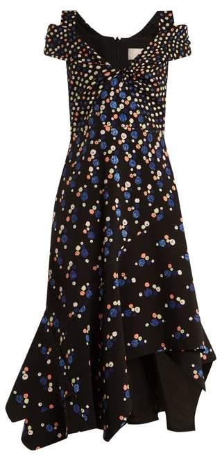 Peter Pilotto Off The Shoulder Dot Print Stretch Cady Dress - Womens - Navy Print