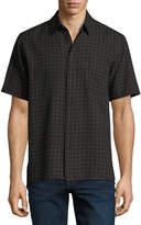 Neiman Marcus Lattice-Print Short-Sleeve Shirt, Black