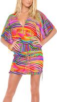 Luli Fama Orange & Purple Cabana V-Neck Cover-Up